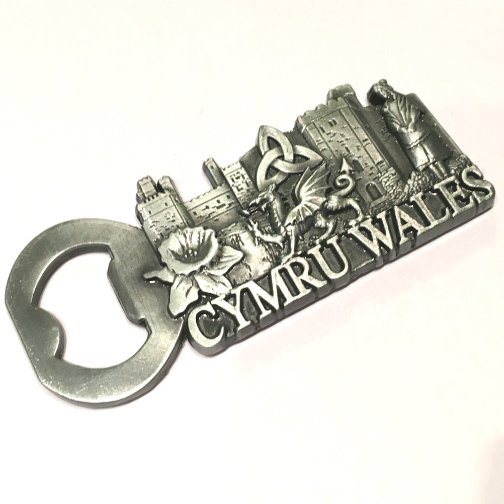 Cymru Wales Pewter Finish Gilt Metal Bottle Opener Fridge Magnet [wm631p]