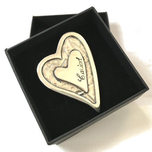 wms Cariad Heart Pewter Brooch