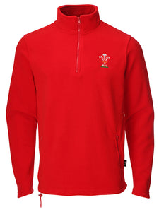 Mens Official WRU Welsh Rugby 1/4 Zip Fleece