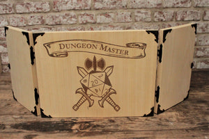 Wooden Battle Axe D20 Design Dungeon Master Screen - Handmade by Fandomonium