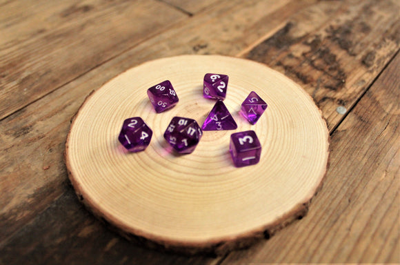 Chessex Purple Mini Polyhedral 7 Dice Set. CHX23057. Delivered by Fandomonium