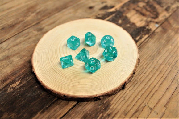 Chessex Teal Mini Polyhedral 7 Dice Set. CHX23965. Delivered by Fandomonium