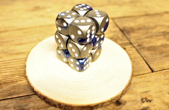 Chessex - Set of 12 D6 Dice Block - Gemini Blue Steel From Fandomonium