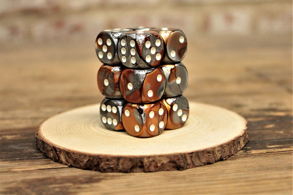 Chessex - Set of 12 D6 Dice Block - Gemini Copper Steel From Fandomonium