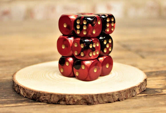 Chessex - Set of 12 D6 Dice Block - Gemini Black Red From Fandomonium