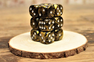 Chessex - Set of 12 D6 Dice Block - Leaf Black Gold From Fandomonium