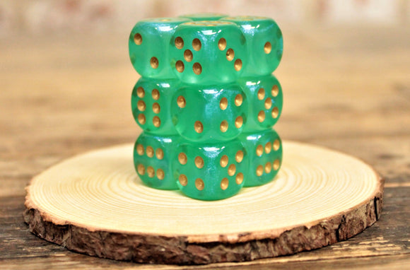 Chessex - Set of 12 D6 Dice Block - Borealis Light Green From Fandomonium