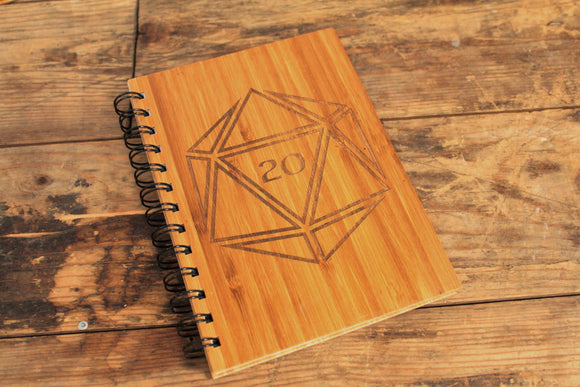 D20 engraved bamboo notebook by Fandomonium