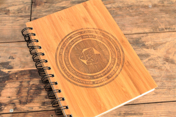 D20 Character Wheel Engraved Bamboo Notebook - By Fandomonium