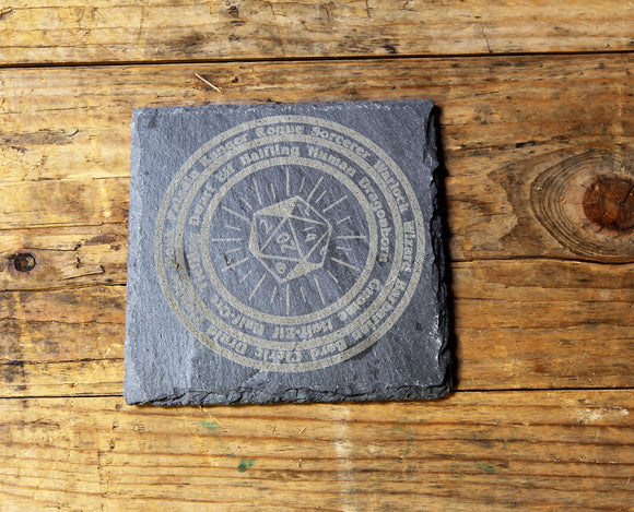 D&D 'Character Wheel' Engraved Slate Coaster