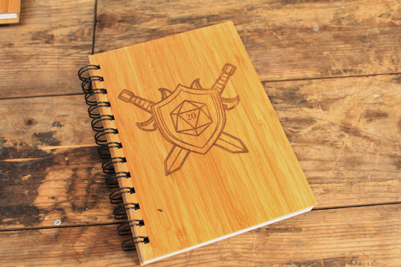 D20 Sigil engraved bamboo notebook by Fandomonium