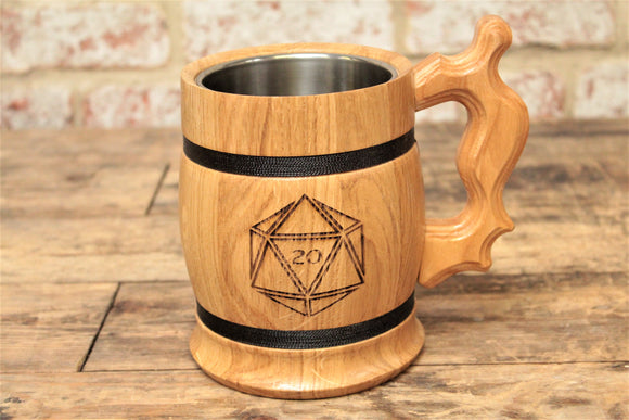 D20 Engraved Wooden Beer Tankard - Fandomonium