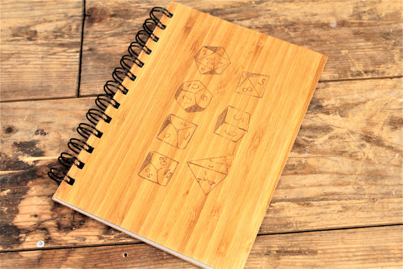 Dice engraved bamboo notebook by Fandomonium