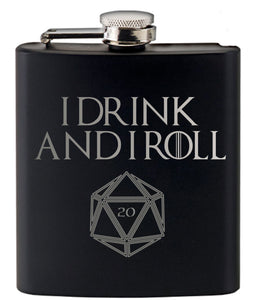 I Drink and I Roll 20 Game of Thrones and Dungeons and Dragons Inspired Hip Flask Set by Fandomonium
