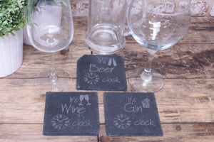 Beer, Wine and Gin O'clock engraved slate coaster - Fandomonium