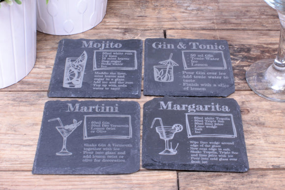 Set of 4 Cocktail Recipe Slate Engraved Coasters - Mojito, Margerita, Gin and Tonic, Martini. By Fandomonium