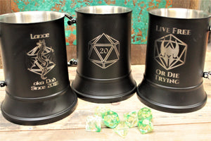 Engraved Stainless Steel Drinking Tankard - Choose your design!