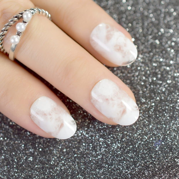 Clear White Marble Nail Tips – Transmania