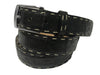 Caiman Skin Pick Stitch Belt Black