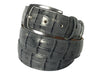 Calf Skin Crocodile Embossed Belt Gray