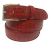 Calf Skin Crocodile Embossed Belt Red