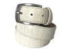 Calf Skin Crocodile Embossed Belt White