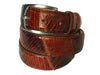 Calf Skin Lizard Embossed Patchwork Belt Brown/Brown