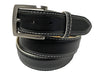 Calf Skin Pebble Belt Black / White Stitch & Edge
