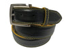 Calf Skin Pebble Belt Black / Yellow Stitch & Edge