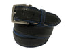 Bison Skin Belt Black / Blue Stitch