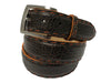Bison Skin Belt Brown / Orange Pick Stitch
