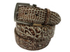 Caiman Skin Handpainted Belt Brown/White