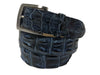 Caiman Skin Hornback Handpainted Belt Blue/Black