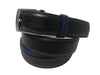 Calf Skin Pebble Belt Black / Blue Stitch & Edge