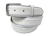 Calf Skin Pebble Belt White / Blue Stitch