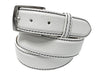 Calf Skin Pebble Belt White / Black Stitch