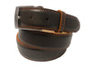 Calf Skin Pebble Belt Brown / Orange Stitch & Edge