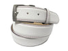 Calf Skin Pebble Belt White / Purple Stitch & Edge