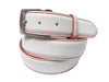 Calf Skin Pebble Belt White / Red Stitch & Edge