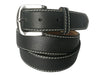 Calf Skin Pebble Belt Black / White Stitch