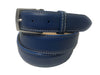 Calf Skin Pebble Belt Blue / White Stitch