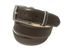 Calf Skin Pebble Belt Brown / White Stitch & Edge