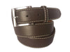 Calf Skin Pebble Belt Brown / White Stitch