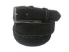 Calf Skin Suede Belt Black / White Stitch