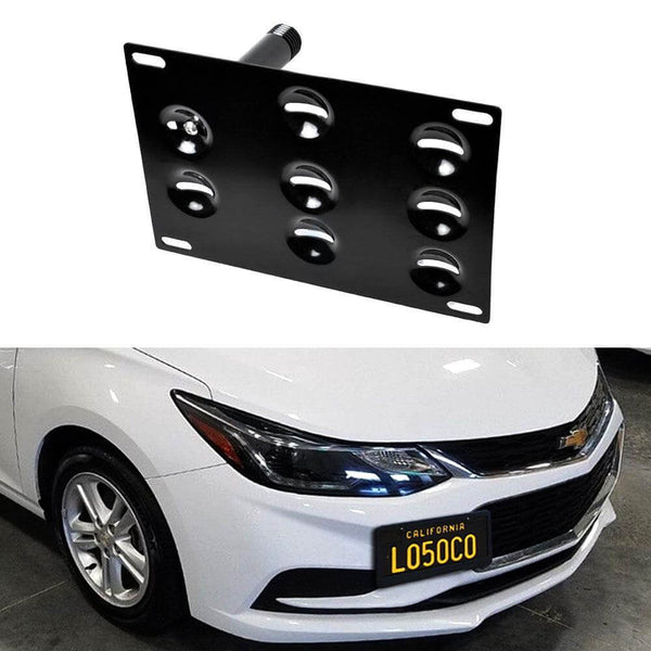 16-18 Chevrolet Cruze iJDMToy No Drill Front Bumper Tow Hook License Plate Mounting Bracket Adapter Kit