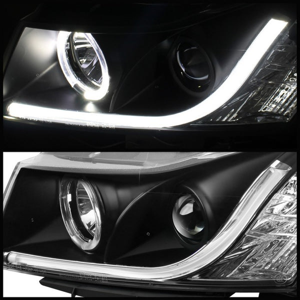 11-16 Chevrolet Cruze Spyder Projector Headlights - Light Tube DRL - Black