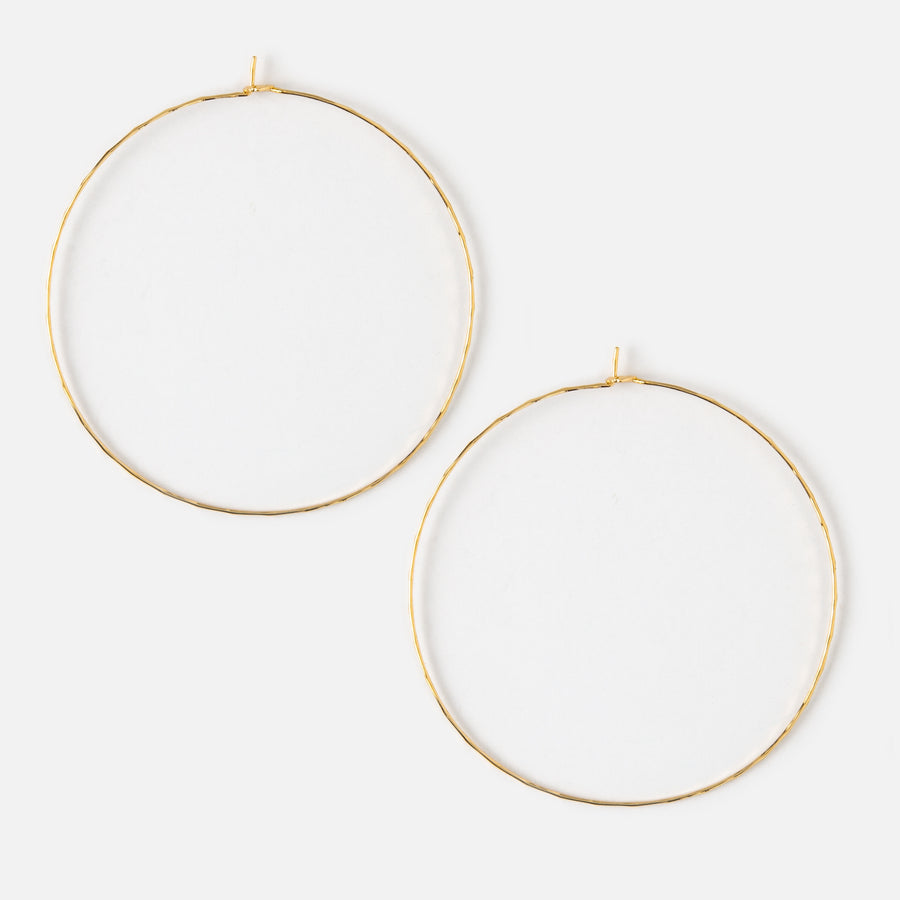 Gold Large Hammered Hoop Earrings