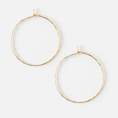 Small Gold Hammered Hoop Earrings
