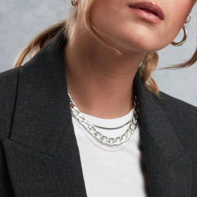 Satellite Chain Silver Necklace - Mid Length