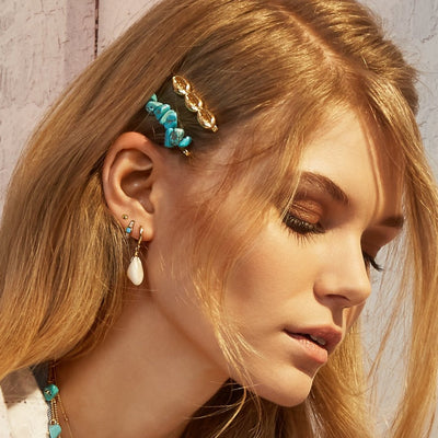 Cowrie Huggie & Turquoise Ear Party - Silver